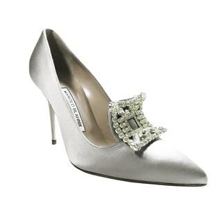 Manolo Blahnik Borlak Silver Satin Shoes (Size 7)