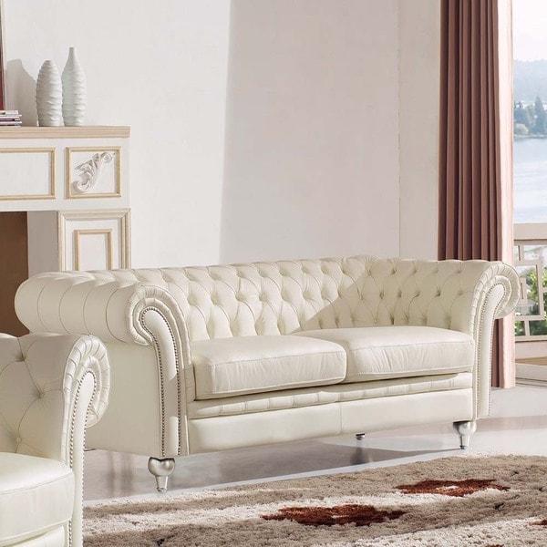 Luca Home Ivory Genuine Italian Leather Diamond Tufted Sofa