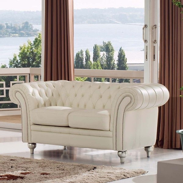 Shop Bryce White Italian Leather Sofa And Two Chairs: Shop Luca Home Ivory Genuine Italian Leather Diamond