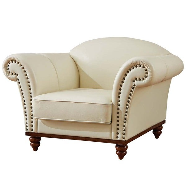 Luca Home Off White Leather Scrolled Arm Chair
