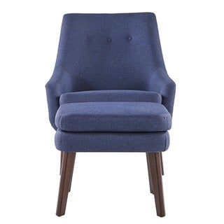 Jette Linen Fabric Accent Chair and Ottoman by MID-CENTURY LIVING