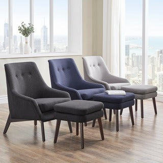 Jette Linen Fabric Accent Chair and Ottoman iNSPIRE Q Modern