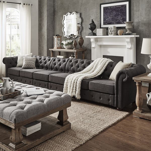 Knightsbridge Dark Grey Extra Long Tufted Chesterfield
