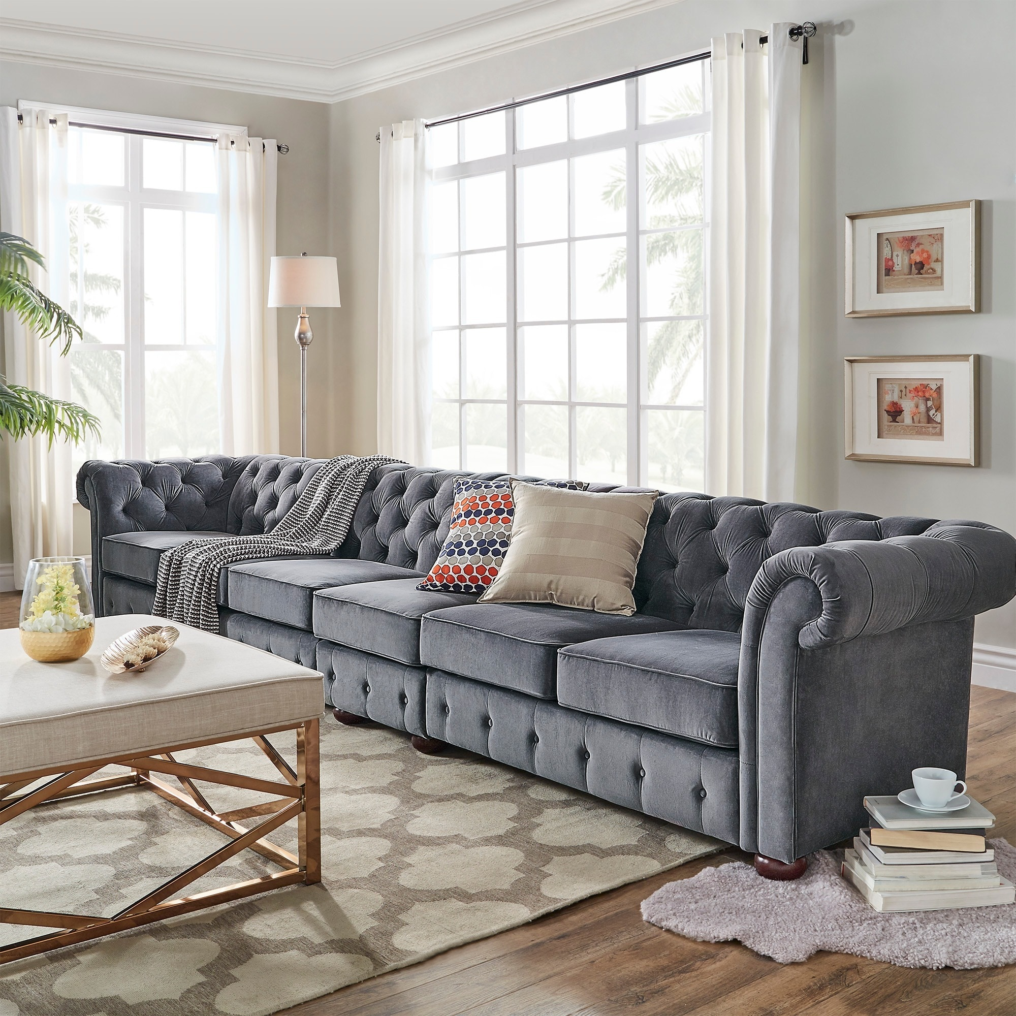 Stupendous Knightsbridge Dark Grey Extra Long Tufted Chesterfield Sofa By Inspire Q Artisan Alphanode Cool Chair Designs And Ideas Alphanodeonline