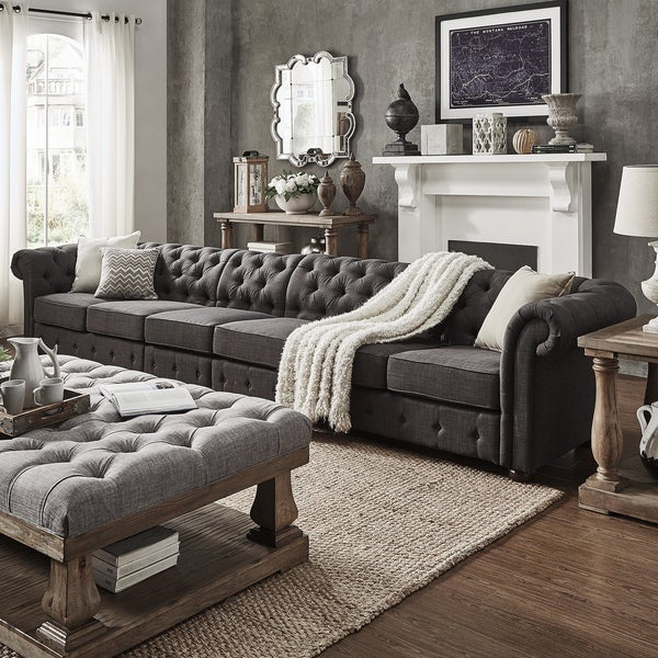 dark grey oversize extra long tufted chesterfield modular sofa