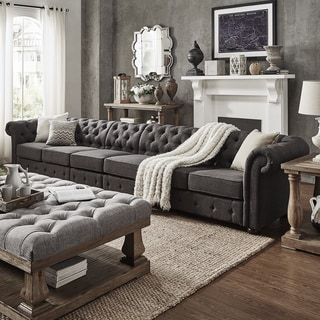 Knightsbridge Dark Grey Oversize Extra Long Tufted Chesterfield Modular Sofa  By INSPIRE Q Artisan
