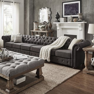 Knightsbridge Dark Grey Linen Oversize Extra Long Tufted Chesterfield Modular Sofa by SIGNAL HILLS