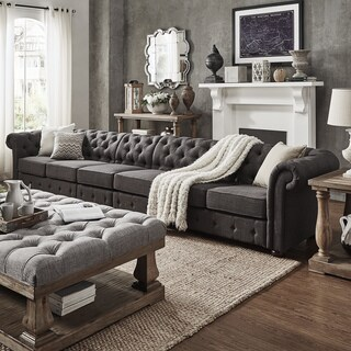Knightsbridge Dark Grey Extra Long Tufted Chesterfield Sofa by iNSPIRE Q Artisan (More options available)