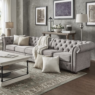 Knightsbridge Grey Extra Long Tufted Chesterfield Modular Sofa by iNSPIRE Q Artisan (5-Seat Sofa - Light Grey)