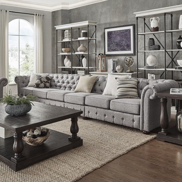 Cheap Living Room Furniture For Sale: Shop Knightsbridge Grey Extra Long Tufted Chesterfield