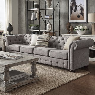 Knightsbridge Grey Extra Long Tufted Chesterfield Modular Sofa by iNSPIRE Q Artisan (5 options available)