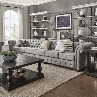 Knightsbridge Grey Linen Oversize Extra Long Tufted Chesterfield Modular Sofa by SIGNAL HILLS