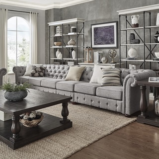 Knightsbridge Grey Linen Oversize Extra Long Tufted Chesterfield Modular Sofa by iNSPIRE Q Artisan