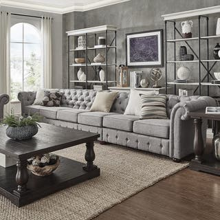 Knightsbridge Grey Extra Long Tufted Chesterfield Modular Sofa by iNSPIRE Q Artisan