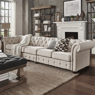 Knightsbridge Beige Linen Oversize Extra Long Tufted Chesterfield Modular Sofa by SIGNAL HILLS