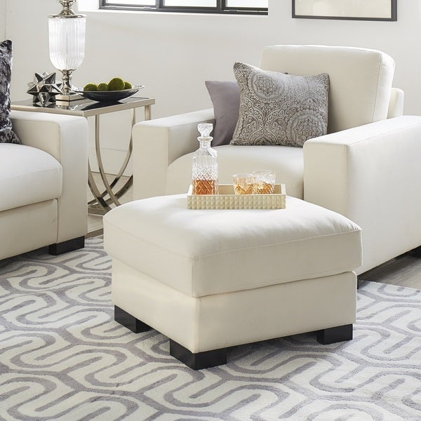 Lionel White Cotton Fabric Down Filled Ottoman By Inspire