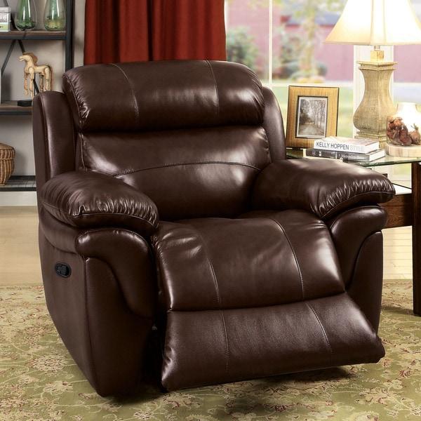 American Furniture Recliner Spring Placement: Furniture Of America Hollmen Transitional Brown Top Grain