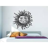 Sun Moon Sunshine Stars Crescent Dual Ethnic Night Symbol Vinyl  Sticker Decal Size 22x22 Color Black