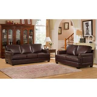 Hilton Premium Brown Top Grain Leather Sofa and Loveseat