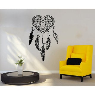 Heart Wall Decal Dreamcatcher Dream Catcher Feathers Night Symbol Indian Sticker Decall size 44x60 Color Black