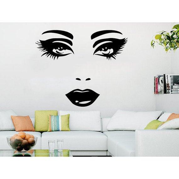 Makeup wall decal vinyl sticker decals home decor mural make up girl eyes sticker decal size