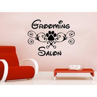 Animals Vinyl Sticker Decals Petshop Grooming Salon Dog Scissors Comb Sticker Decal size 22x26 Color