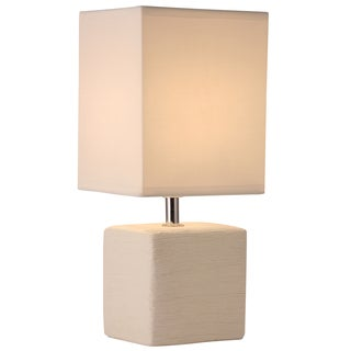 Light Accents Off-white Linen Square Ceramic Table Lamp