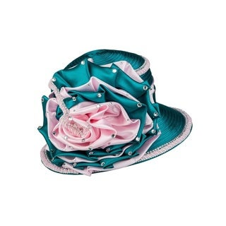 Giovanna Signature Women's Green and Pink Embellished Satin Flower Trimmed Hat