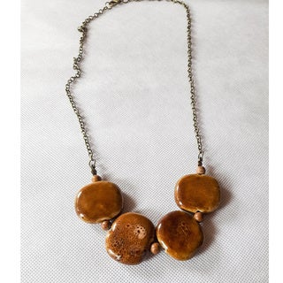 Golden Yellow Procelain Bead Necklace