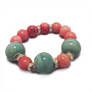 Pink Jade and Porcelain Beaded Bracelet
