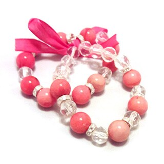 Pink Jade Ribbon Bracelet