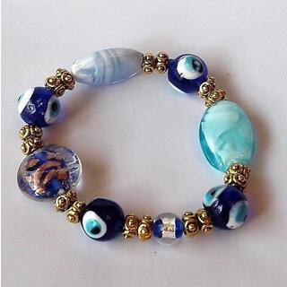 Blue Evil Eye Glass Bead Bracelet