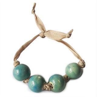 Ribbon Blue Beaded Bracelet