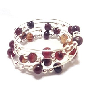 Red Agate Wire Wrap Bracelet