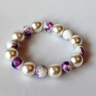 Faux Pearl and Glass Bead Bracelet