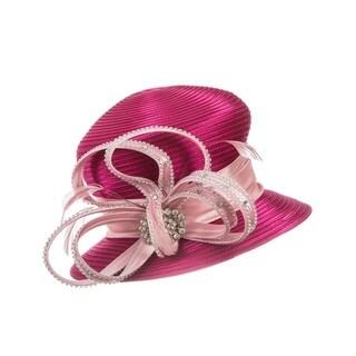 Giovanna Signature Women's Fuchsia Satin Embellished Ribbon Hat