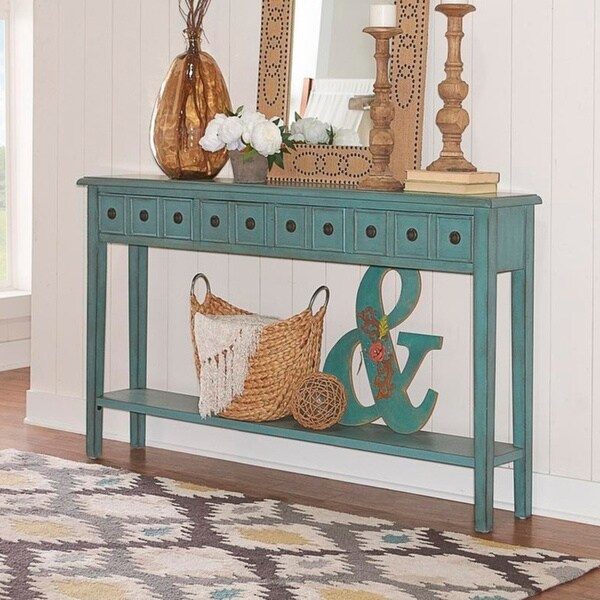 Powell Sadie Teal Wood Long Entryway Console Table. Opens flyout.