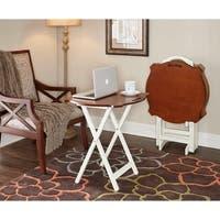 Powell Hazelnut and White Folding TV/ Laptop Tray Tables