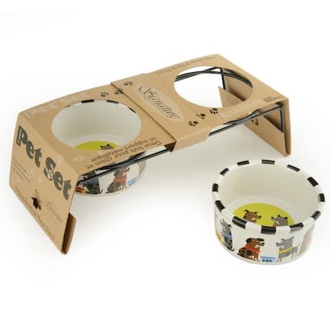 Signature Housewares Pet Bowl Set in Metal Stand