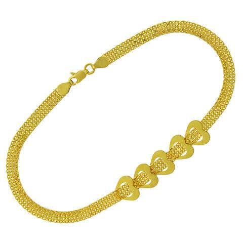 "14k Yellow Gold Womens Fancy Open Heart Spiga Link Bracelet Chain 7.5"""