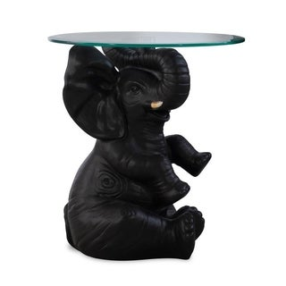 Powell Black Resin and Glass Ernie Elephant Accent Table