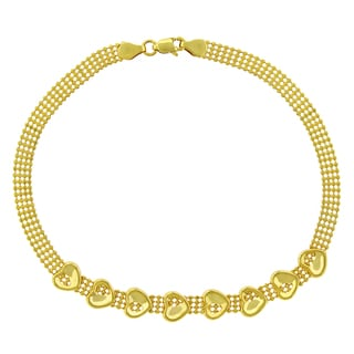 14k Yellow Gold Fancy Puff Heart Bead Link Bracelet Chain