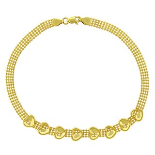 14k Yellow Gold Fancy Puff Heart Bead Link Bracelet Chain https://ak1.ostkcdn.com/images/products/14046162/P20662244.jpg?impolicy=medium