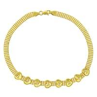 """14k Yellow Gold Womens Fancy Puff Heart Bead Link Bracelet Chain 7.5"""""""