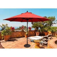 TropiShade 11 ft. Dark Wood Market Umbrella with Brick Red Olefin Cover