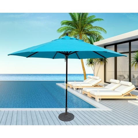 TropiShade 11 ft. Dark Wood Market Umbrella with Turquoise Olefin Cover