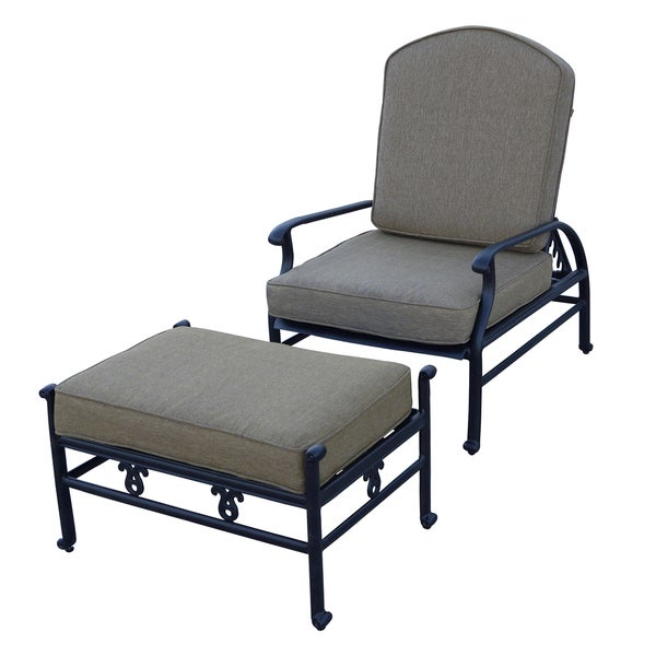 Darlee Catalina Cast Aluminum Adjustable Cushioned Club Chair And Ottoman  Set
