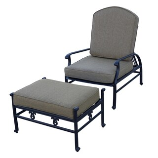 Darlee Catalina Cast Aluminum Adjustable Cushioned Club Chair and Ottoman Set - Antique Bronze