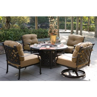 Darlee Camino Real Cast Aluminum 5-Piece Conversation Set, 52 Inch Round Propane Fire Pit Chat Table
