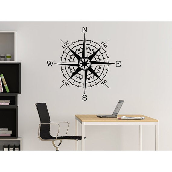 Compass Rose Wall Decal Vinyl Sticker Decals Nautical Compass Navigate Ship  Sticker Decal Size 22x22 Color Black